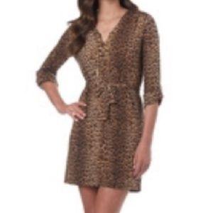 Dresses & Skirts - MICHAEL KORS Caramel LEOPARD Roll Tab Belted Dress